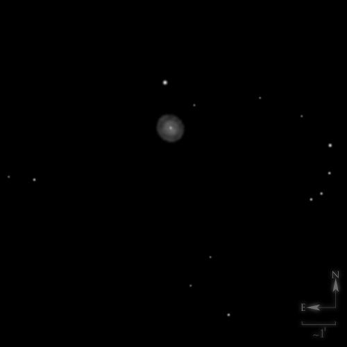Dessin de NGC 2392, la nébuleuse de l'esquimau