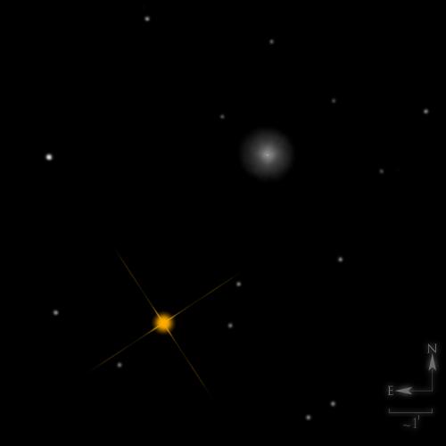 Dessin de NGC 404, le fantôme de Mirach