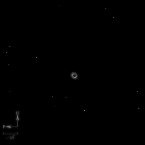 Dessin de NGC 7662, la boule de neige bleue